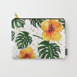 Tropical Leaves Hibiscus on a Gold Sand Background Carry-All Pouch