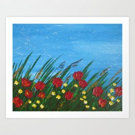 poppies poppy wildflowers red field grass flowers palette knife design designs poppys Art Print
