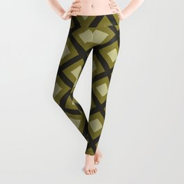 Brown and Beige Zig Zag Square Pattern Leggings