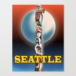Seattle Totem pole travel poster Canvas Print
