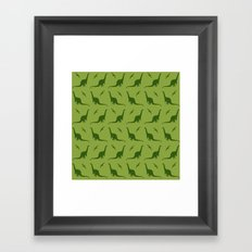 Brontosaurus and Pterodactyls on Green Framed Art Print