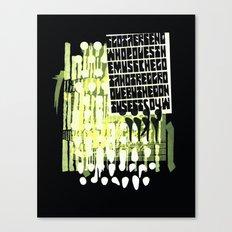 yellow calligraphy (screenprint) Canvas Print