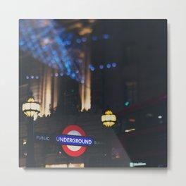 London Underground sign all lit up ... Metal Print