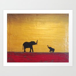 elephant painting wall art canvas decor  Art Print