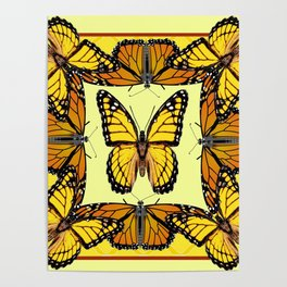 YELLOW & ORANGE MONARCH BUTTERFLIES PATTERNED ART Poster