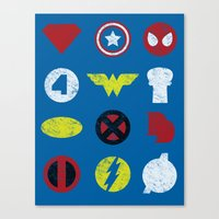 super heroes Canvas Prints featuring Super Simple Heroes by Resistance