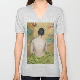 William Merritt Chase - Naked Japanese woman posing sensually with a kimono Unisex V-Neck