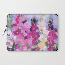 Pink Hollyhocks in My Garden Laptop Sleeve