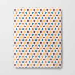 Happy Dots, Minimalist Abstract Polka Dot Pattern in Trendy Colors Metal Print