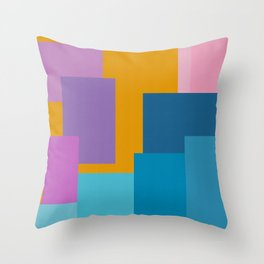 Happy Color Block Geometrics in Yellow, Blue, Purple, and Pink Throw Pillow