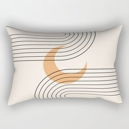 Geometric Lines in Black and Beige 18 (Rainbow and Moon Abstraction) Rectangular Pillow