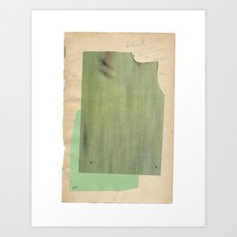 Green colour-field abstract collage Art Print