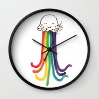 jellyfish Wall Clocks featuring Rainbow Jellyfish by Picomodi
