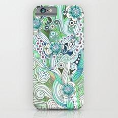Zentangle Flower fire, green doodle iPhone 6 Slim Case