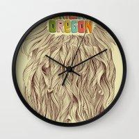 portland Wall Clocks featuring Portland = Beards by Rachel Caldwell
