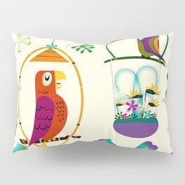 Vintage Modern Tiki Birds Pillow Sham