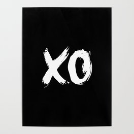 XO Hugs and Kisses white and black gift for her girlfriend xoxo bedroom art and home room wall decor Poster