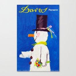 Davos Switzerland Snowman - Vintage Travel Canvas Print