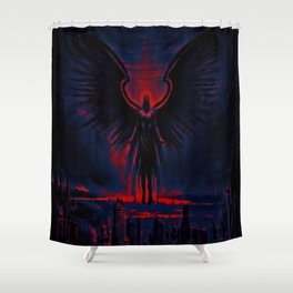 Angelic Guardian Red Blue Shower Curtain