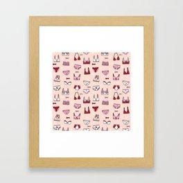 undies hand drawn andrea lauren pattern underwear lingerie pink Framed Art Print