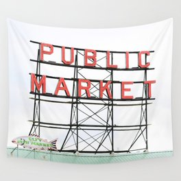 Public Market Seattle Pike Street Fish Neon Sign Northwest Washington Wall Tapestry