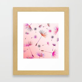 Festive Colorful Dandelions Design Framed Art Print