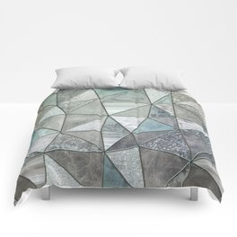 Teal And Grey Triangles Stained Glass Style Comforters