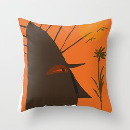 stone head and flower Throw Pillow