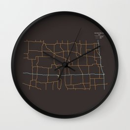 North Dakota Highways Wall Clock