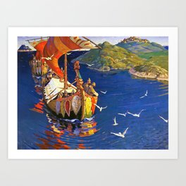 12,000pixel-500dpi - Nicholas Roerich - Guests From Overseas - Digital Remastered Edition Art Print