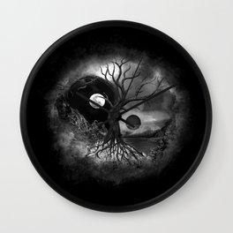 Yin Yang Tree Landscape Black and White Wall Clock
