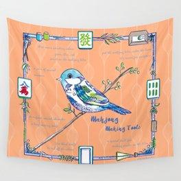 Sparrow Mahjong in Orange Wall Tapestry