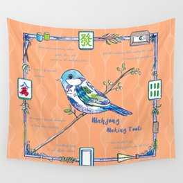 Sparrow Mahjong in Orange Wall Tapestry