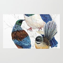 thee birds in a tree Rug