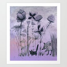 little cat in the garden Art Print
