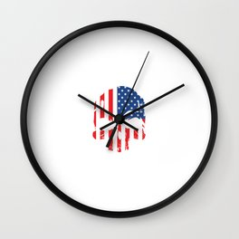Heavy Metal Rock N' Roll Electric Instrument With Skull Of American Flag T-shirt Design White Wall Clock