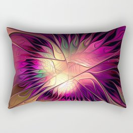 Flowering Fantasy, Abstract Fractal Art Rectangular Pillow