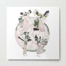 pink & plants - all Metal Print