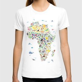 Animal Map of Africa for children and kids T-shirt