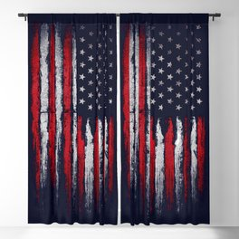Red & white American flag on Navy ink Blackout Curtain