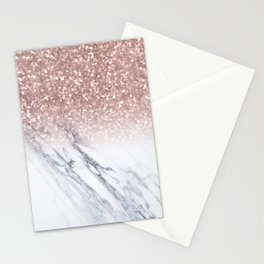 She Sparkles Rose Gold Marble Luxe Stationery Cards