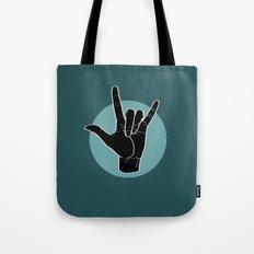 ILY - I Love You - Sign Language - Black on Green Blue 06 Tote Bag