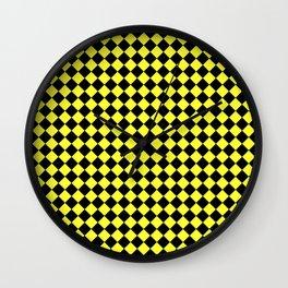 Black and Electric Yellow Diamonds Wall Clock