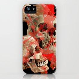 MACABRE BLOOD & SKULLS BLACK  ART iPhone Case