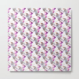 Chic purple pink hand painted floral pattern Metal Print