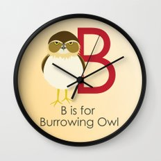 B is for Burrowing Owl Wall Clock