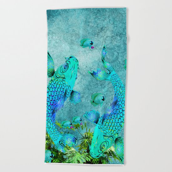 KOI POND ADVENTURE Beach Towel