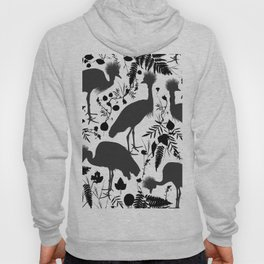 Black crowned crane with grass and flowers black silhouette Hoody