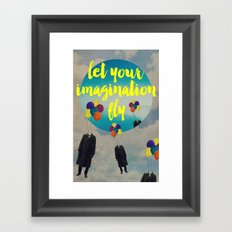 Vintage Quotes Collection -- Let Your Imagination Fly Framed Art Print