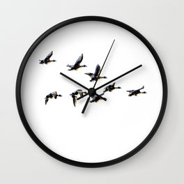 Geese in formation, graphic print, modern Wall Clock